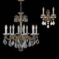 Schonbek la scala 5474-74 5070-48  chandelier & wall lamp set
